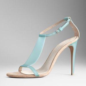 Burberry Prorsum blue vinyl sandals heels 39.5
